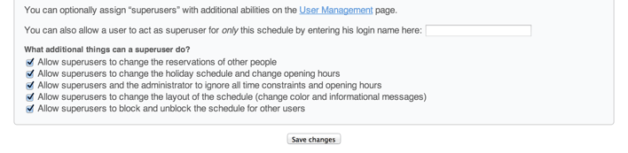 Superuser access settings