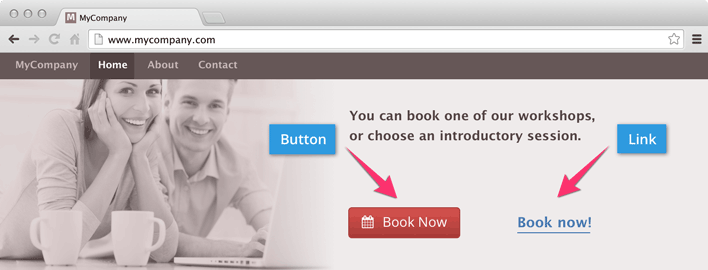Button or link integration