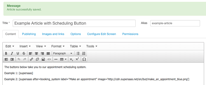 Entering multiple Booking Buttons in a Joomla! article