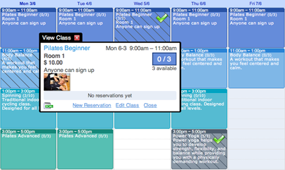 Screenshot of appointment booking