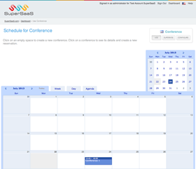 Month view with the newly created conference