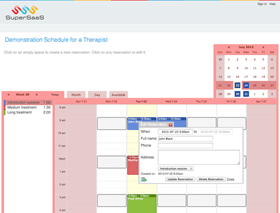 Example service schedule